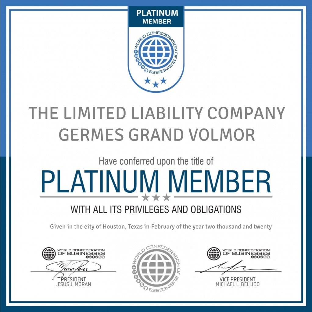 Platinum Member Certificate - THE LIMITED LIABILITY COMPANY GERMES GRAND VOLMOR .jpg